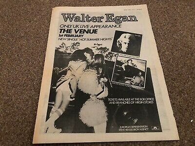 (mel19) Advert 15x12  Walter Egan Only Live Uk Appearance At The Venue 1979 • 27£