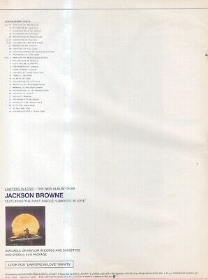 (sfbk45) Poster/advert 28x11  Jackson Browne : Lawyers In Love • 26.99£