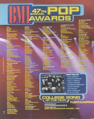 (HFBK69) POSTER/ADVERT 26x11  BMI 47TH POP AWARDS SONGWRITERS OF THE YEAR • 26.99£