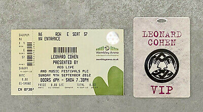 Leonard Cohen, Vip Pass And Ticket, 9 Sept 2012 Wembley Arena, Rare, Folk • 16.99£