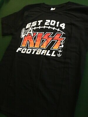 NEW LA KISS T Shirt Rock & NFL Football #33 RARE Large Paul Stanley Gene Simmons • 9.99£