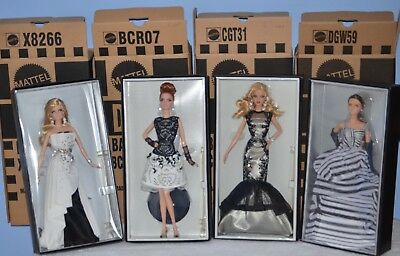 4 Barbie Platinum Label Black And White Beaded Gown Leatherette Classic Chiffon • 788.22£