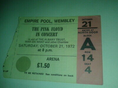 Ticket Stub Pink Floyd At Wembley Oct.21,1972 • 260£