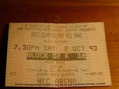 Eric Clapton Ticket NEC Arena, Birmingham 2nd October 1993 • 35£