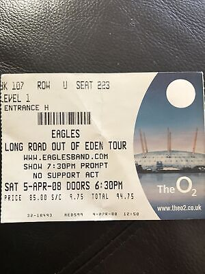 Eagles Concert Ticket Long Road Out Of Eden Tour 2008 The 02 London £94.75 • 3.70£