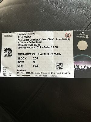 The Who Concert Ticket 2019 London £169.75 • 6.10£
