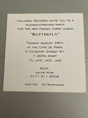 MARIAH CAREY Promo COLLECTABLE Invitation BUTTERFLY • 25£