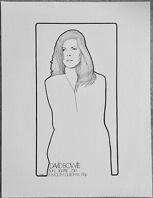 David Bowie, Plymouth Guildhall 1972 Original Gig Poster, Near Mint, Beautiful • 99£