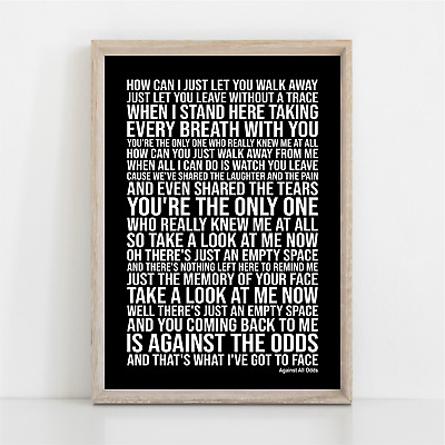 Phil Collins Against All Odds Lyrics Poster Print Wall Art Take A Look At Me Now • 11.95£