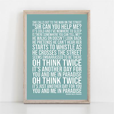 Phil Collins ANOTHER DAY IN PARADISE Lyrics Poster Print Wall Art • 11.95£