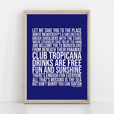 George Michael Wham CLUB TROPICANA Song Lyrics Poster Print Wall Art • 11.95£