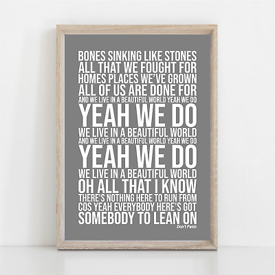 Coldplay DONT PANIC Song Lyrics Poster Print Wall Art • 11.95£