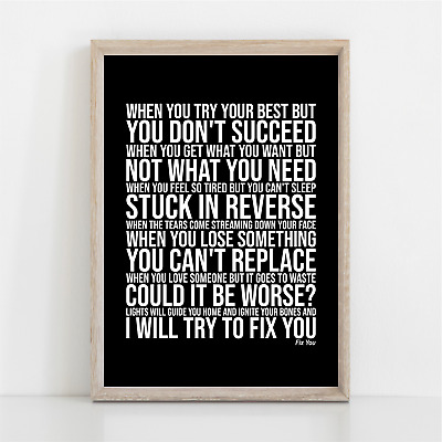 Coldplay FIX YOU Song Lyrics Poster Print Wall Art • 11.95£