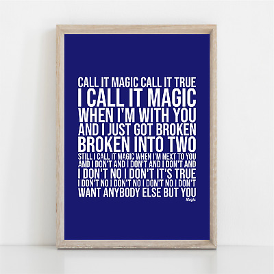 Coldplay MAGIC Song Lyrics Poster Print Wall Art • 11.95£