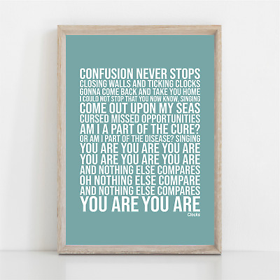 Coldplay THE CLOCKS Song Lyrics Poster Print Wall Art • 11.95£