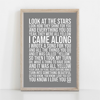 Coldplay YELLOW Song Lyrics Poster Print Wall Art • 11.95£