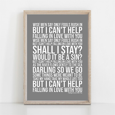 UB40 ( I Can't Help ) Falling In Love With You Song Lyrics Poster Print Wall Art • 11.95£