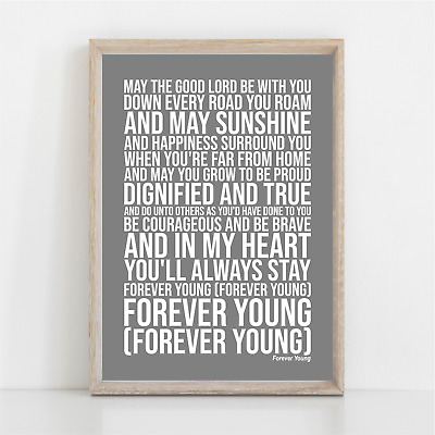 Rod Stewart FOREVER YOUNG Song Lyrics Poster Print Wall Art • 11.95£