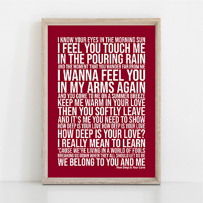 Bee Gees HOW DEEP IS YOUR LOVE Song Lyrics Poster Print Wall Art • 11.95£