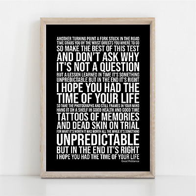 Green Day Good Riddance ( Time Of Your Life ) Song Lyrics Poster Print Wall Art • 11.95£