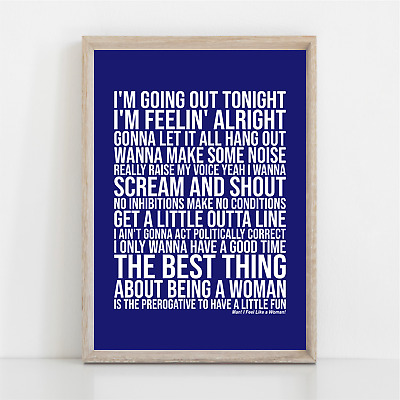 Shania Twain MAN ! I FEEL LIKE A WOMAN ! Song Lyrics Poster Print Wall Art • 11.95£