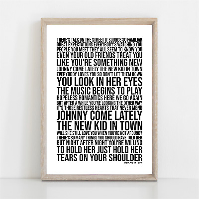 Eagles NEW KID IN TOWN Song Lyrics Poster Print Wall Art • 11.95£