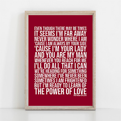 Celine Dion THE POWER OF LOVE Song Lyrics Poster Print Wall Art • 11.95£