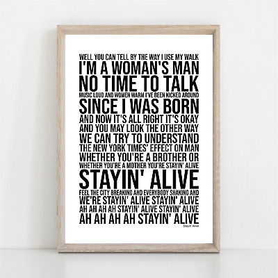 Bee Gees STAYIN' ALIVE Song Lyrics Poster Print Wall Art • 11.95£