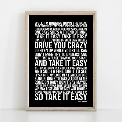 Eagles TAKE IT EASY Song Lyrics Poster Print Wall Art • 11.95£