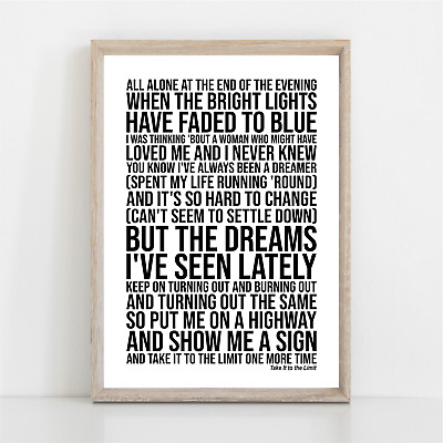 Eagles TAKE IT TO THE LIMIT Song Lyrics Poster Print Wall Art • 11.95£