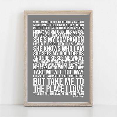Red Hot Chili Peppers UNDER THE BRIDGE Song Lyrics Poster Print Wall Art • 11.95£