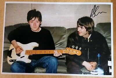Signed Oasis Liam Gallagher Noel Gallagher Brian Cannon Vinyl Photo • 24.99£