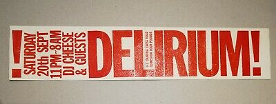Delirium!  Astoria 1986 Rave Flyer Rare Very Good Condition • 45£