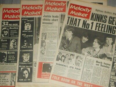 4  Melody Maker  Papers  1965 ,  Donovan , Dylan,  Beatles , Who ,stones Byrds . • 29.99£