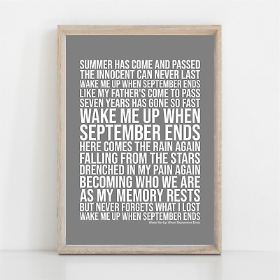 Green Day Wake Me Up When September Ends Song Lyrics Poster Print Wall Art • 11.95£