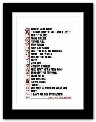 ❤ The Rolling Stones - Glastonbury SETLIST Typography Art Poster Print -A1 A2 A3 • 14.95£