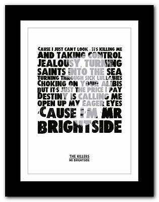 ❤ THE KILLERS - Mr Brightside ❤ Lyric Typography Poster Art Print A1 A2 A3 Or A4 • 14.95£