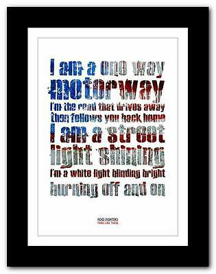 ❤   FOO FIGHTERS Times Like These ❤ Lyric Poster Art Print A1 A2 A3 Or A4 • 14.95£