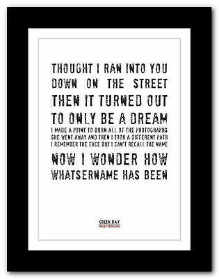 ❤ GREEN DAY - Whatsername❤ Song Lyric Typography Art Poster Print - A1 A2 A3 A4 • 9.95£