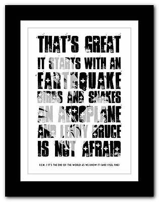 R.E.M.- It's The End Of The World ❤ Song Lyrics Typography Poster Art Print • 14.95£