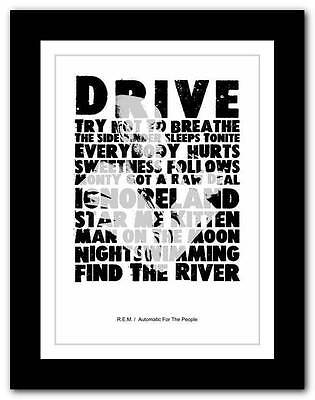 ❤  R.E.M Automatic For The People ❤ Typography Poster Art Print - A1 A2 A3 Or A4 • 14.95£