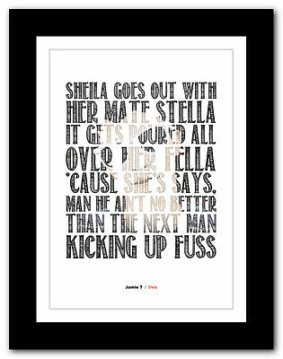 ❤ Jamie T - Sheila ❤ Song Lyrics Typography Poster Art Print - A1 A2 A3 Or A4 • 9.95£