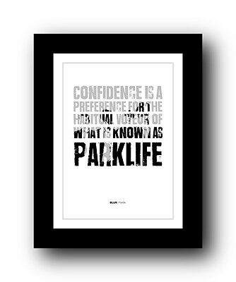 BLUR Parklife  ❤  Song Lyrics Typography Poster Art Print • 14.95£