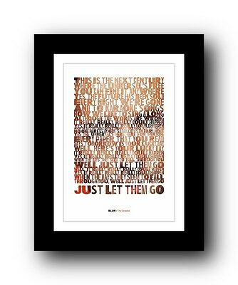 BLUR The Universal  ❤  Song Lyrics Typography Poster Art Print #2 • 16.95£