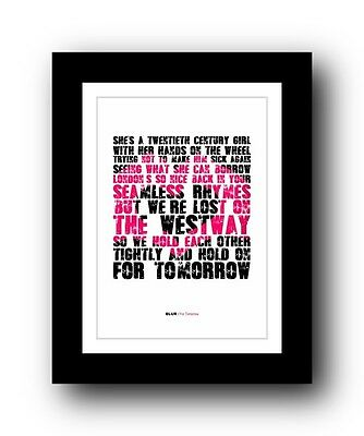 BLUR For Tomorrow #2  ❤  Song Lyrics Typography Poster Art Print • 16.95£