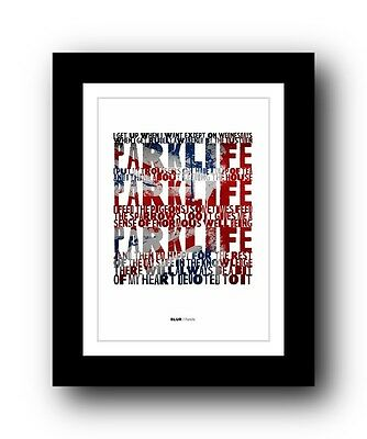 BLUR Parklife #4  ❤  Song Lyrics Typography Poster Art Print • 16.95£