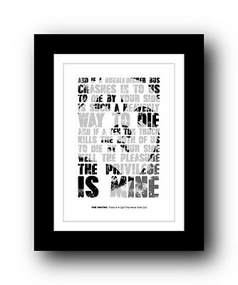 The Smiths ❤ There Is A Light That Never Goes Out Typography Poster Art Print #2 • 15.99£
