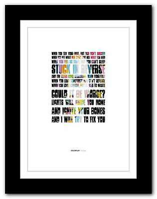 COLDPLAY - Fix You ❤ Song Lyrics Poster Art Limited Edition Typography Print #6 • 16.95£