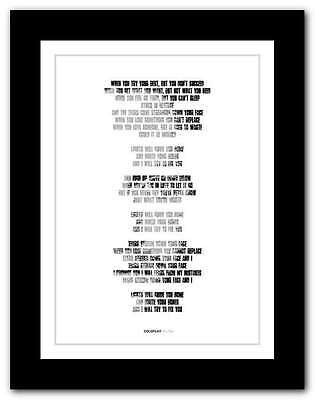 ❤ COLDPLAY Fix You ❤ Song Lyrics Poster Art Limited Edition Typography Print #8 • 15.95£