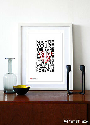 OASIS ❤ Live Forever ❤ Song Lyric Poster Art Limited Ed Print - 5 Sizes #21 • 14.95£